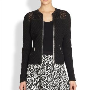 Rebecca Taylor Lace and Leather Blazer